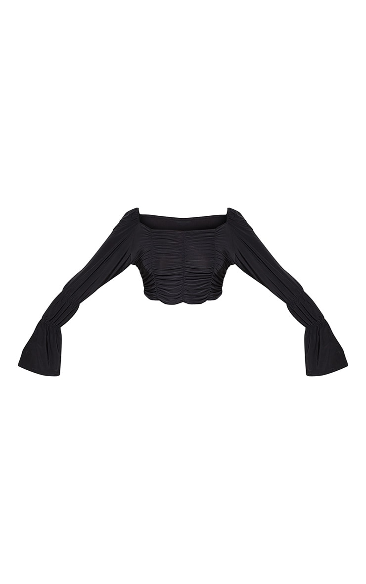 Plus Black Slinky Ruched Square Neck Crop Top 3