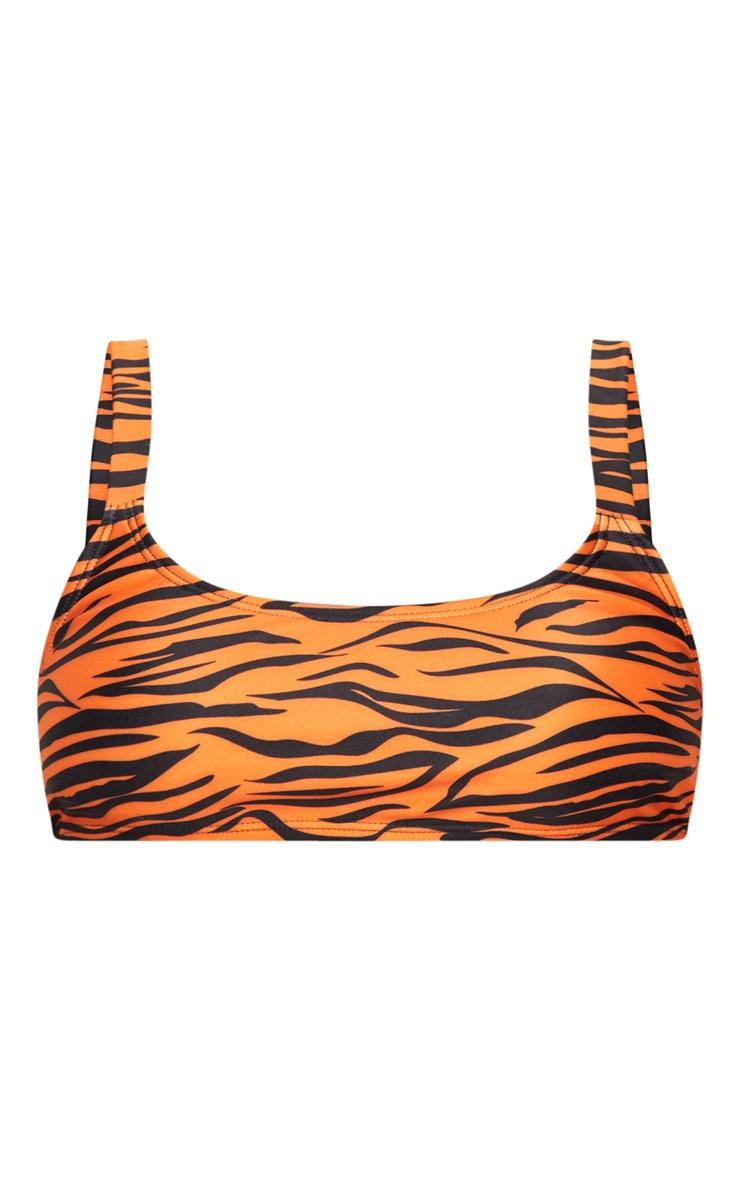 Orange Tiger Print Padded Scoop Neck Bikini Top 3