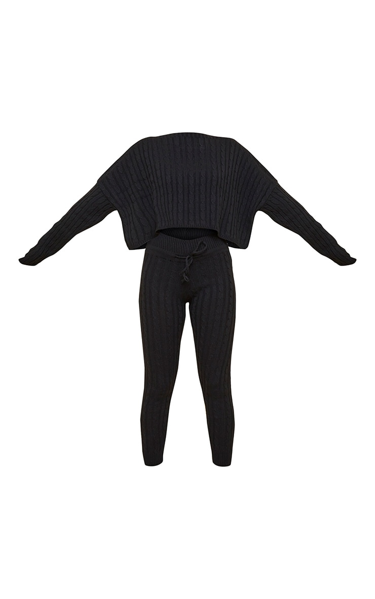 Black Cable Knit Sweater & Legging Set 5