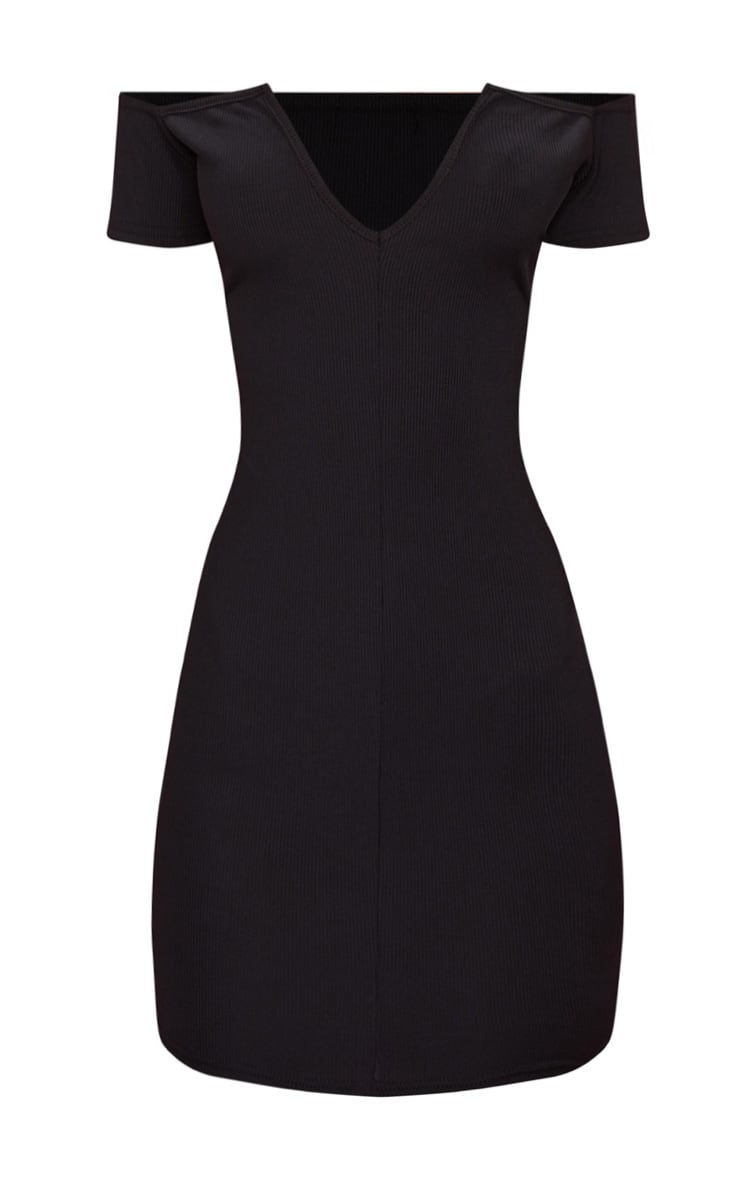 Black Ribbed Plunge Bardot Bodycon Dress 3