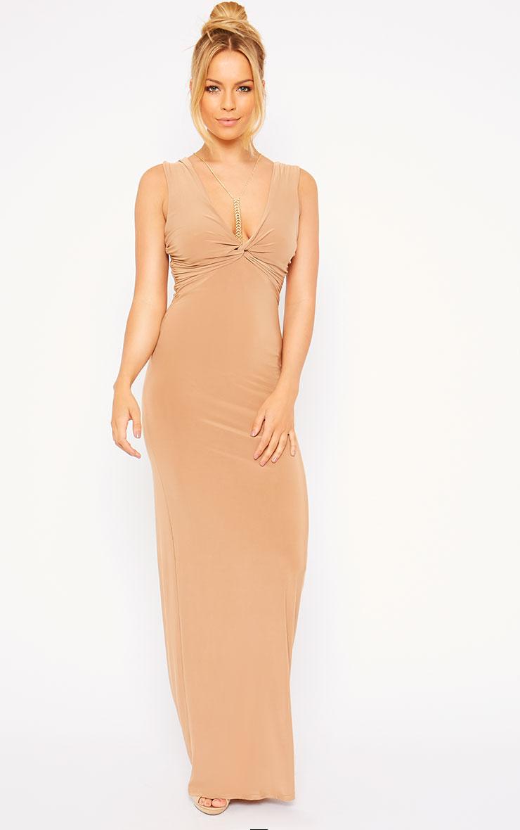 Zena Camel Knot Front Slinky Maxi Dress 4