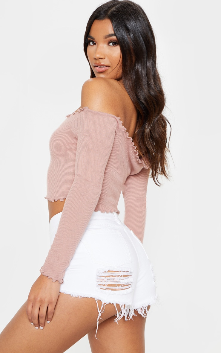 Josie Dusty Pink Frill Edge Crop Top  2