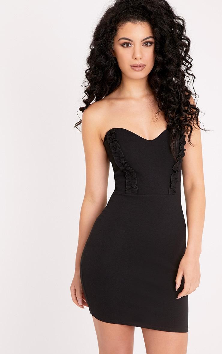 Darliella Black Bandeau Ruffle Detail Bodycon Dress 1