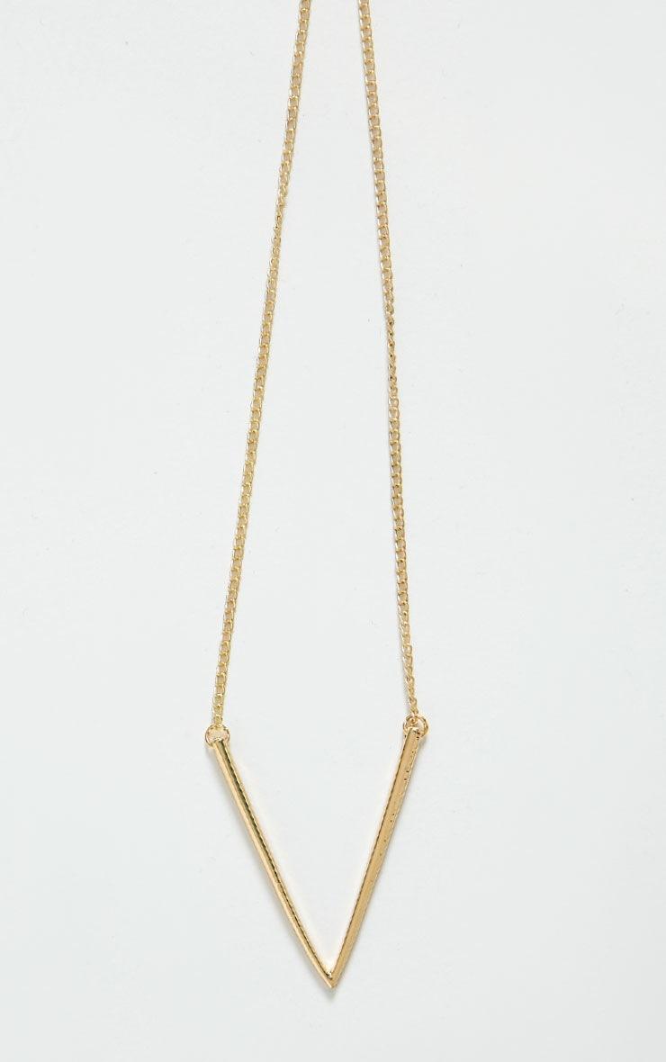 Tora Gold V-Bar Necklace 3