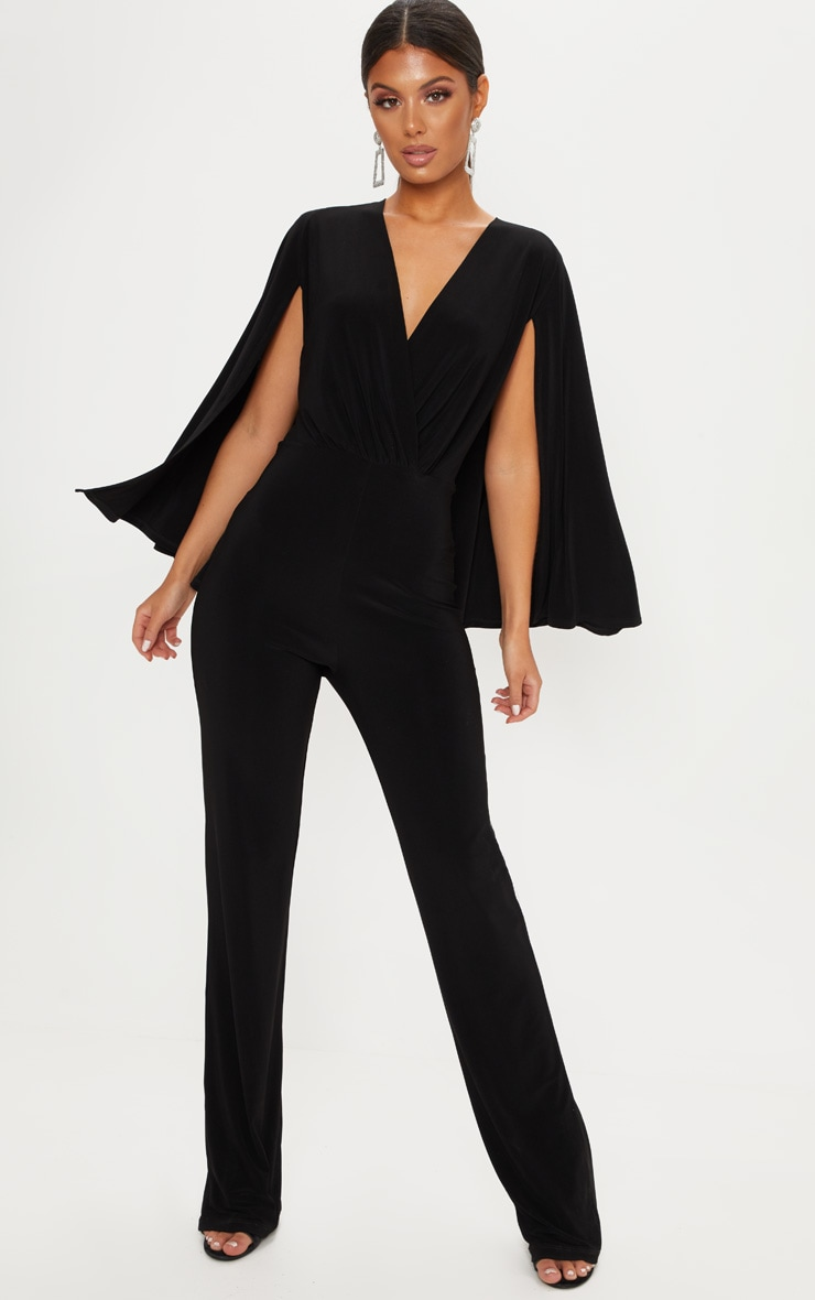 79ebffb23e7 Black Plunge Cape Detail Wrap Jumpsuit image 1