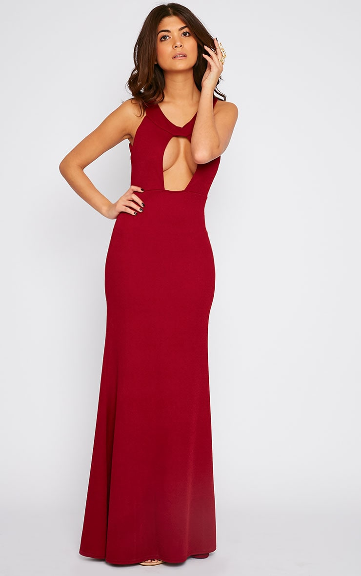 Brandy Red Plunge Maxi Dress 4