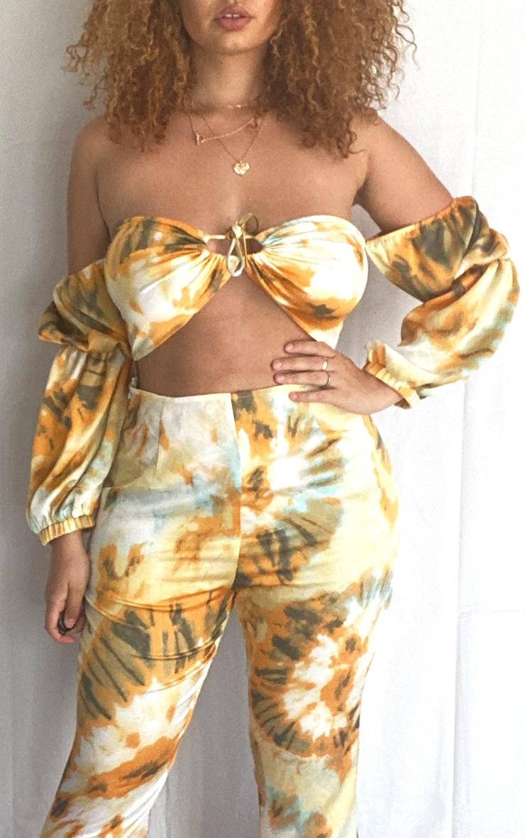 Plus Orange Tie Dye Print Bardot Cut Out Jumpsuit 4