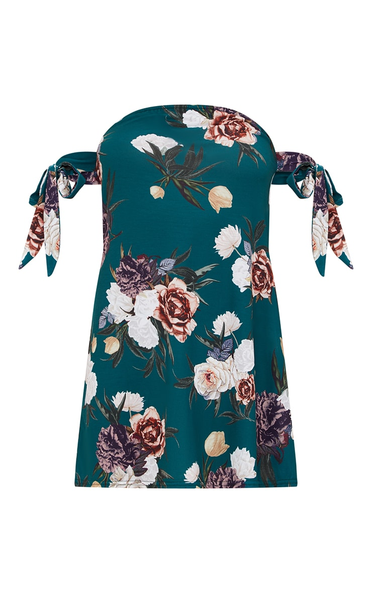 Green Floral Bardot Tie Sleeve Shift Dress 3