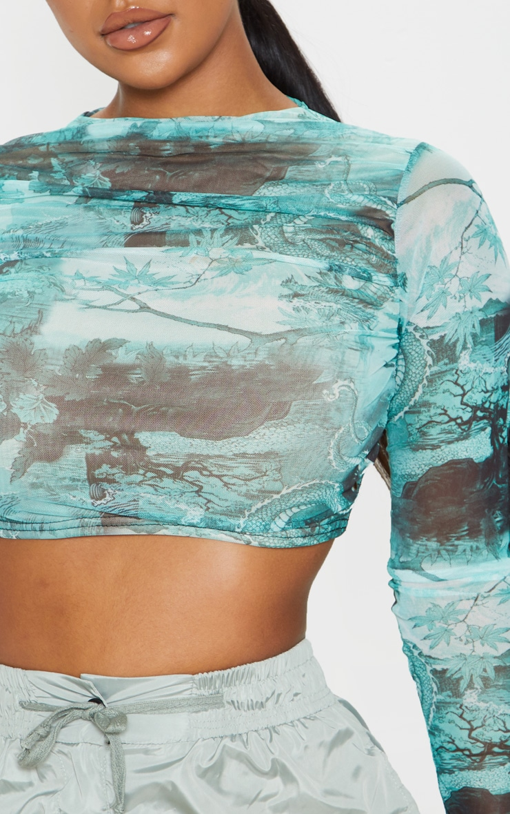 Emerald Chinese Dragon Printed Mesh Ruched Front Crop Top 5