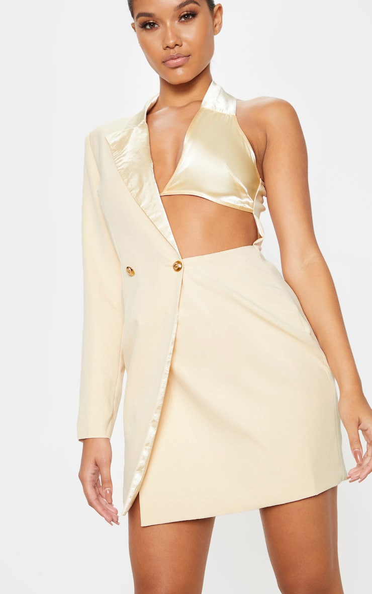 Stone One Shoulder Satin Detail Gold Button Blazer Dress 5
