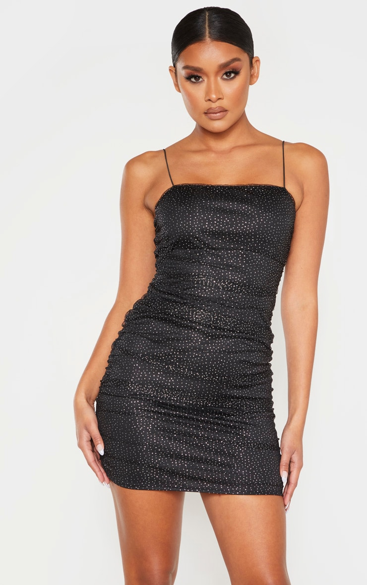 Black Glitter Mesh Ruched Strappy Bodycon Dress 1