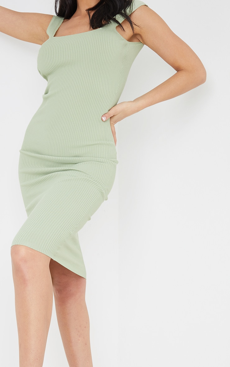Sage Green Square Neck Low Back Knitted Midi Dress 4