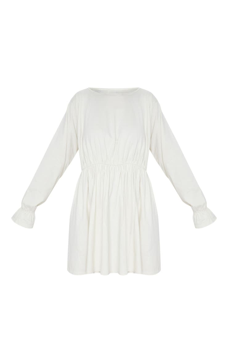 Ecru Long Sleeve Frill Cotton Elastane Cuff Smock Dress 3