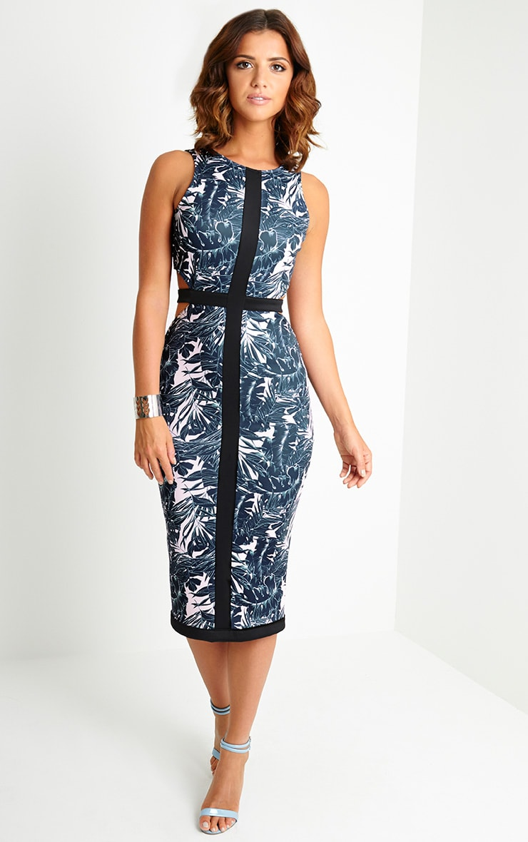 Lyla Tropical Cut Out Midi Dress 1