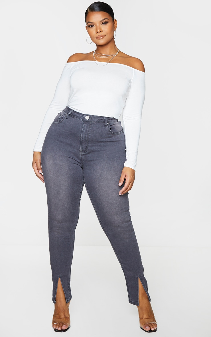 Plus Washed Grey Split Front Skinny Jeans 1