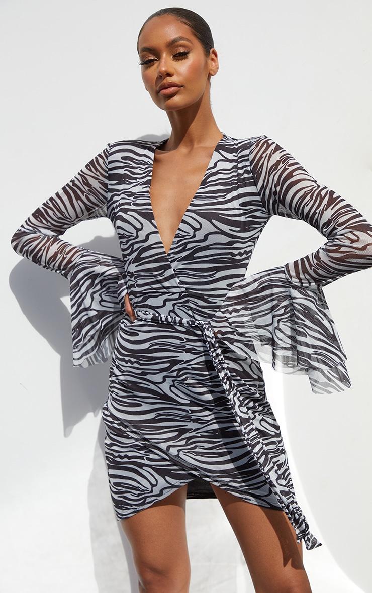 Black Zebra Print Mesh Flared Sleeve Tie Waist Bodycon Dress 1
