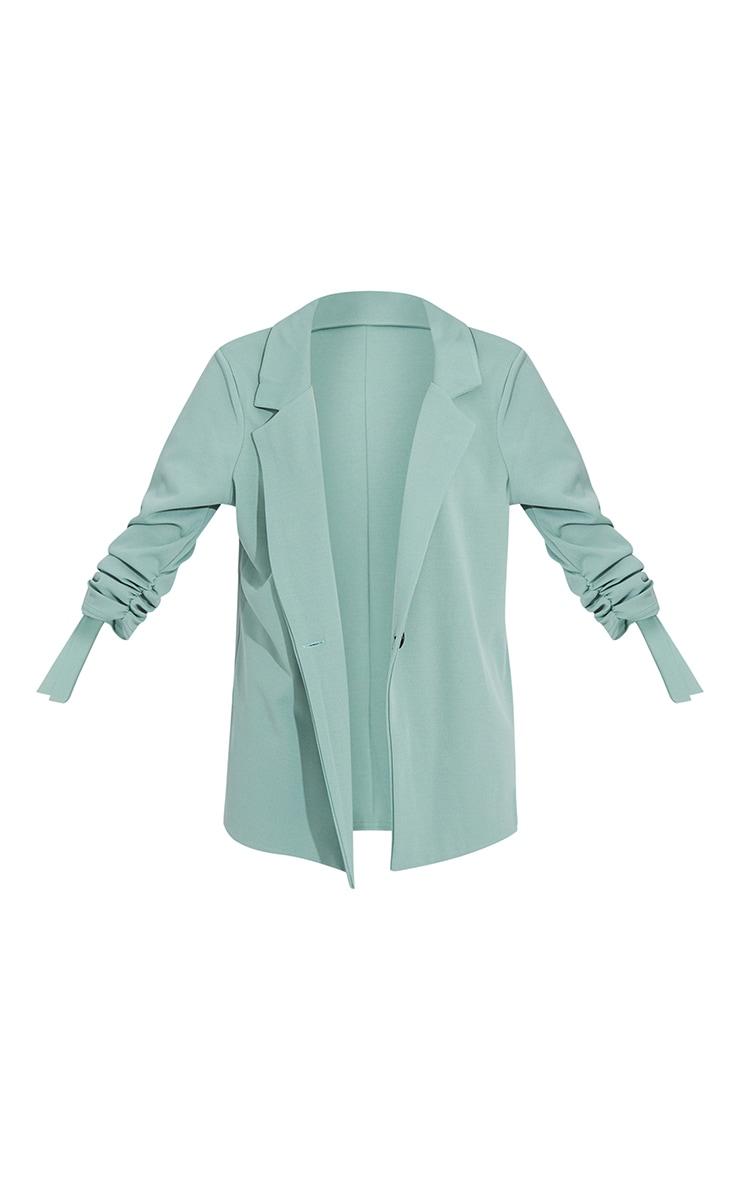 Sage Green Ruched Sleeve Blazer 5