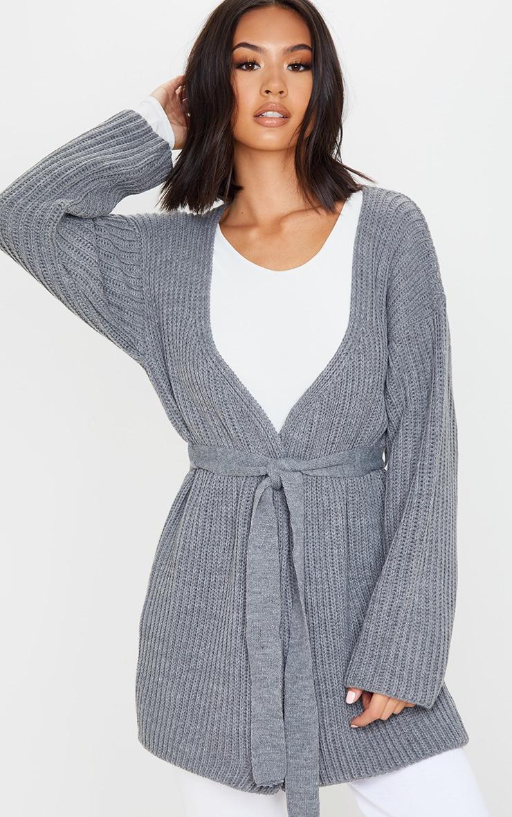 Grey Chunky Knit Wrap Cardigan 1