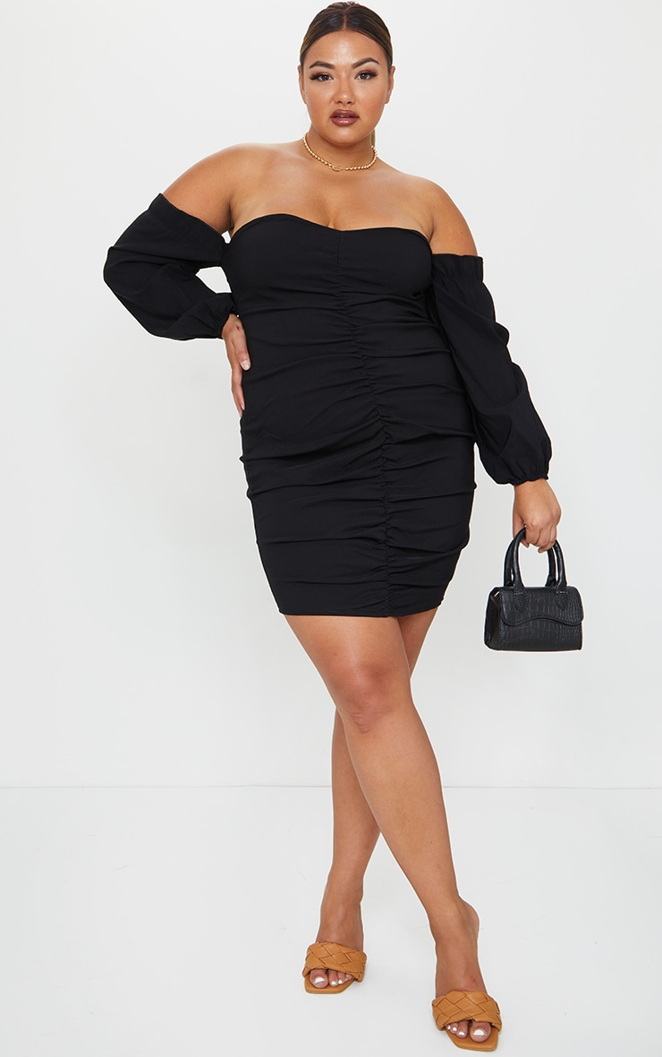 Plus Black Stretch Bardot Ruched Front Bodycon Dress 3