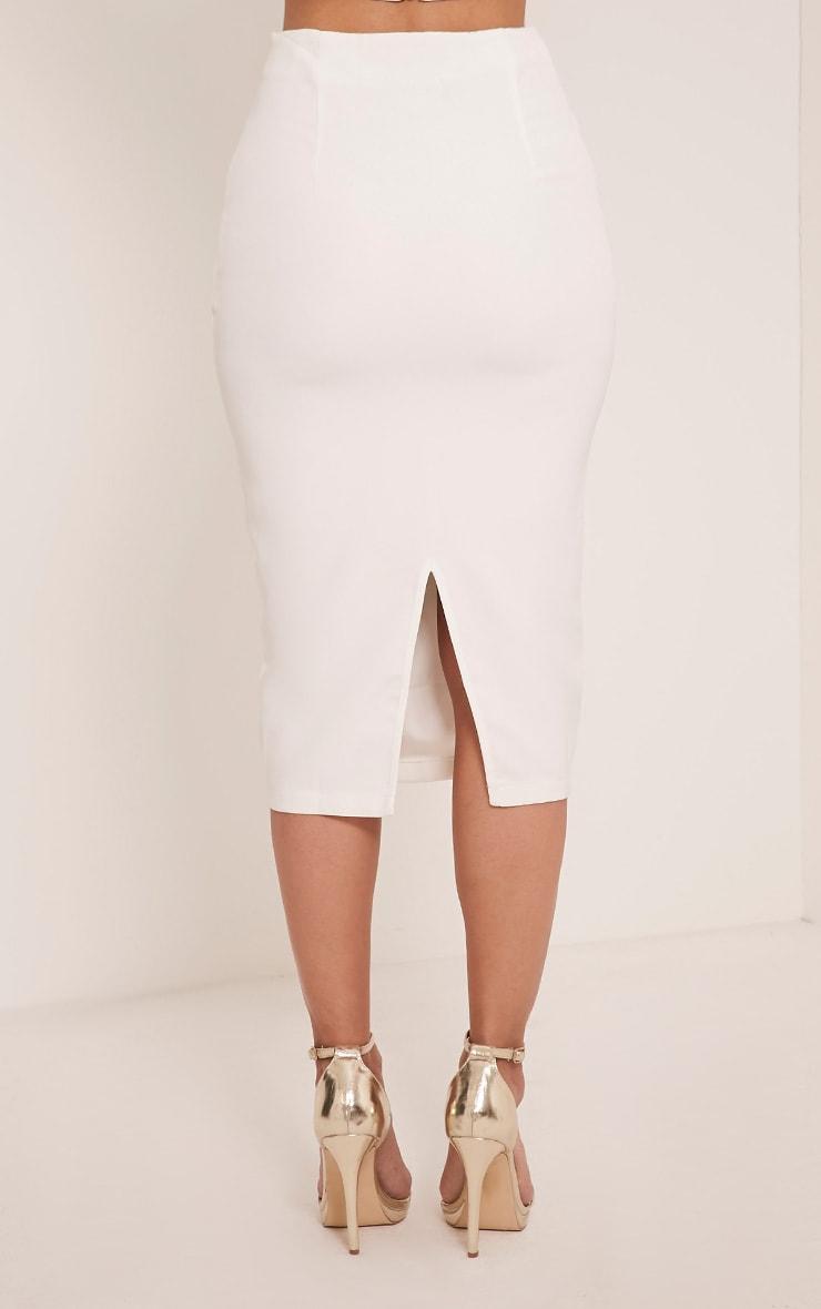 Haley White Lace Up Midi Skirt 5