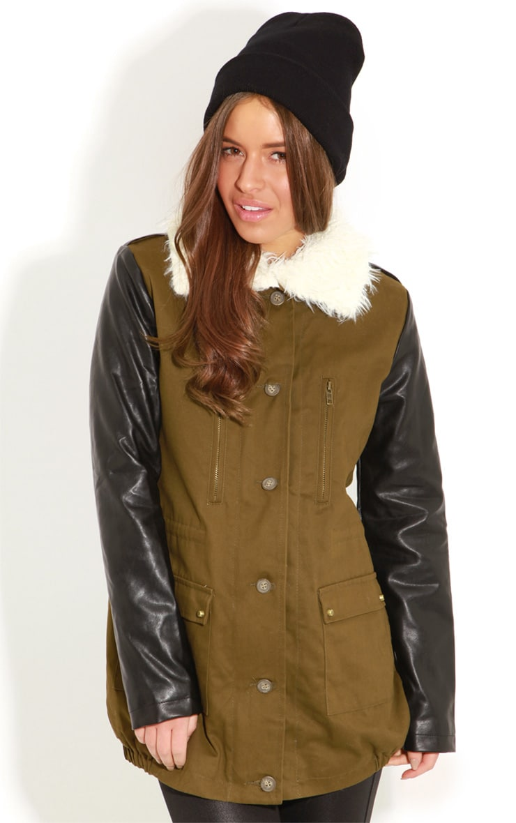 Roxy Khaki Faux Leather and Shearling Parka Coat 4