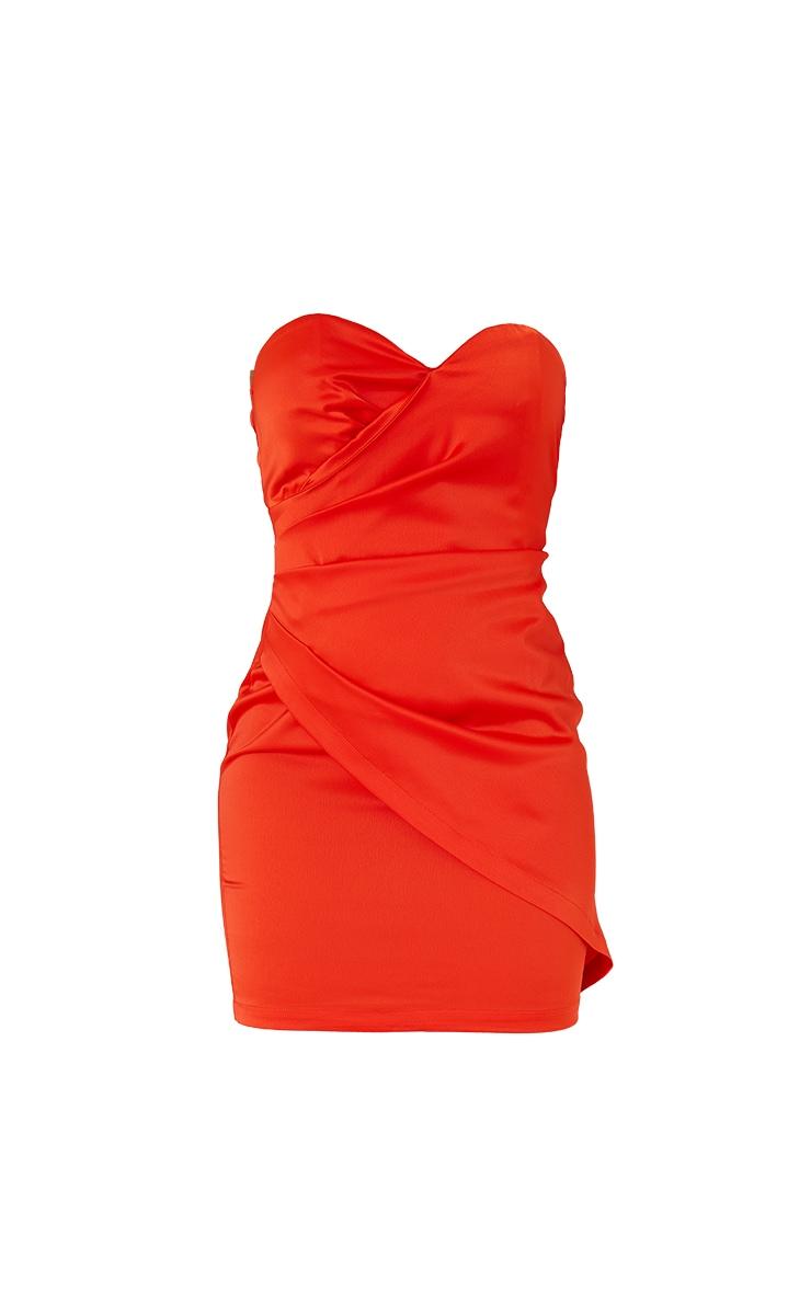 Orange Satin Bandeau Wrap Detail Bodycon Dress 5