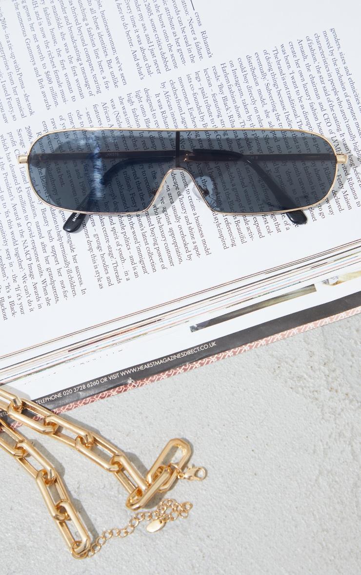 Black Lens Round Slimeline Sunglasses 3