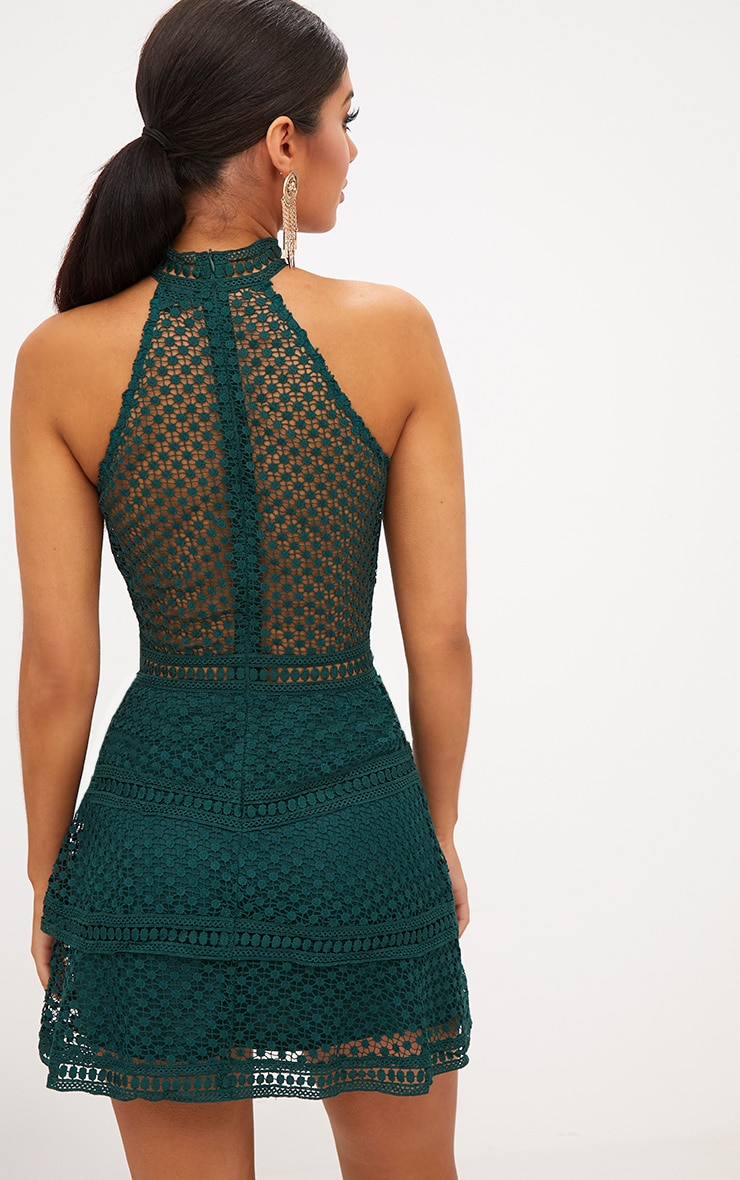 Emerald Green Lace Panel Tiered Bodycon Dress 2