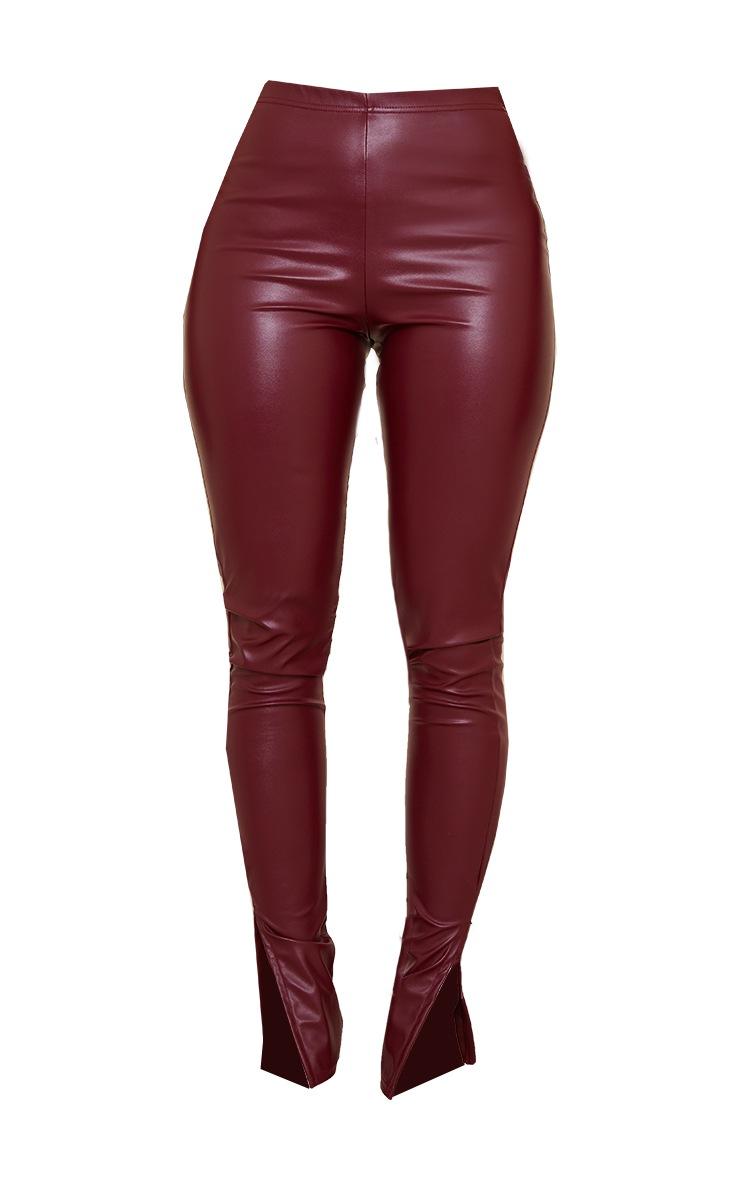 Shape Burgundy PU Split Hem Pants 5