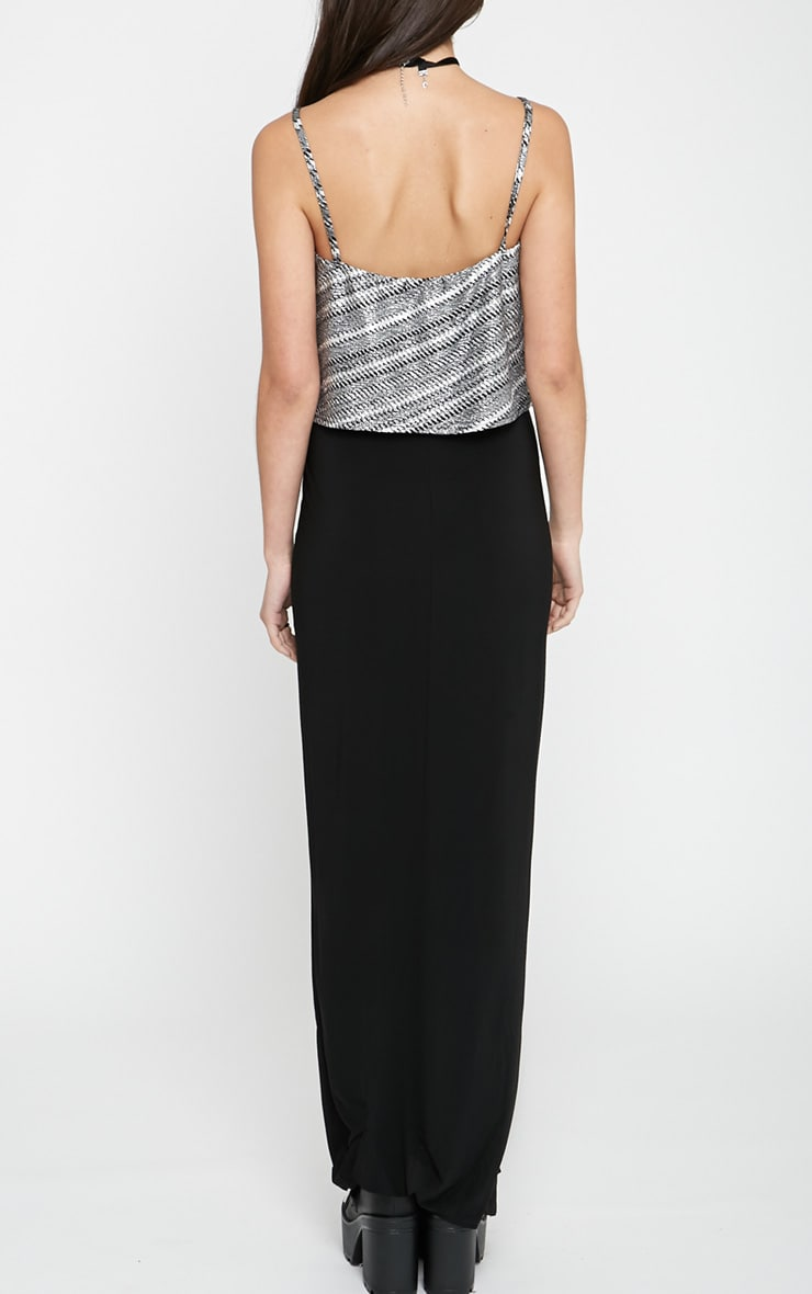 Mya Black Split Maxi Dress with Metallic Frill 2