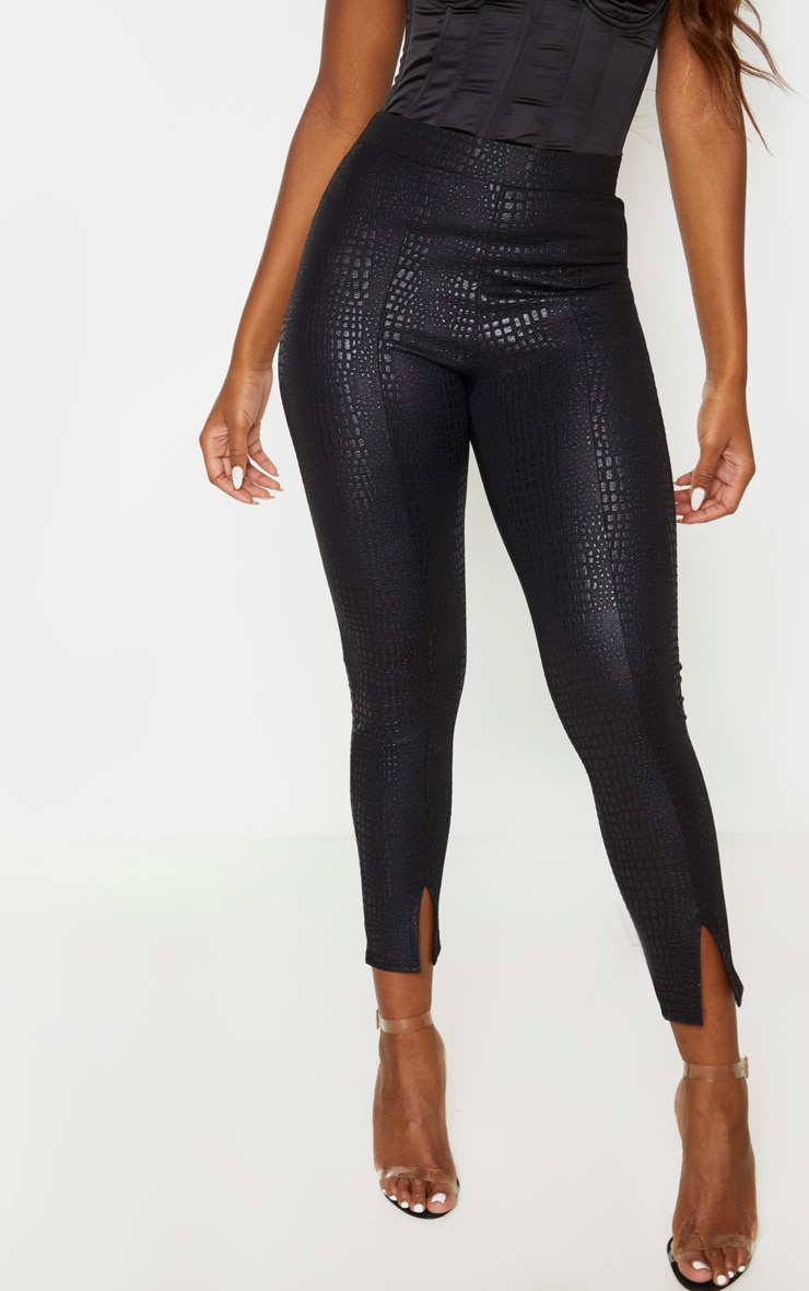 Black Croc Split Front Legging 2