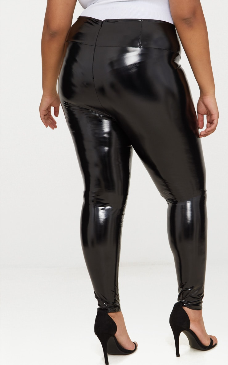Plus Black High Waist Vinyl Leggings 4