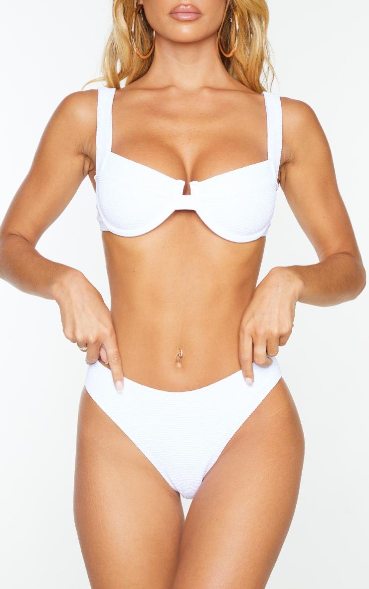 White Mini Crinkle Cheeky Bum Bikini Bottoms 1