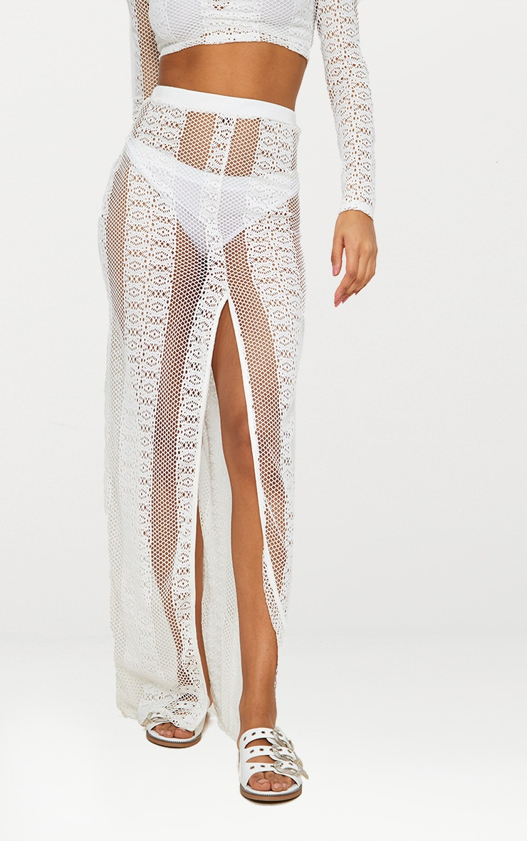 Cream Lace Split Maxi Skirt 2