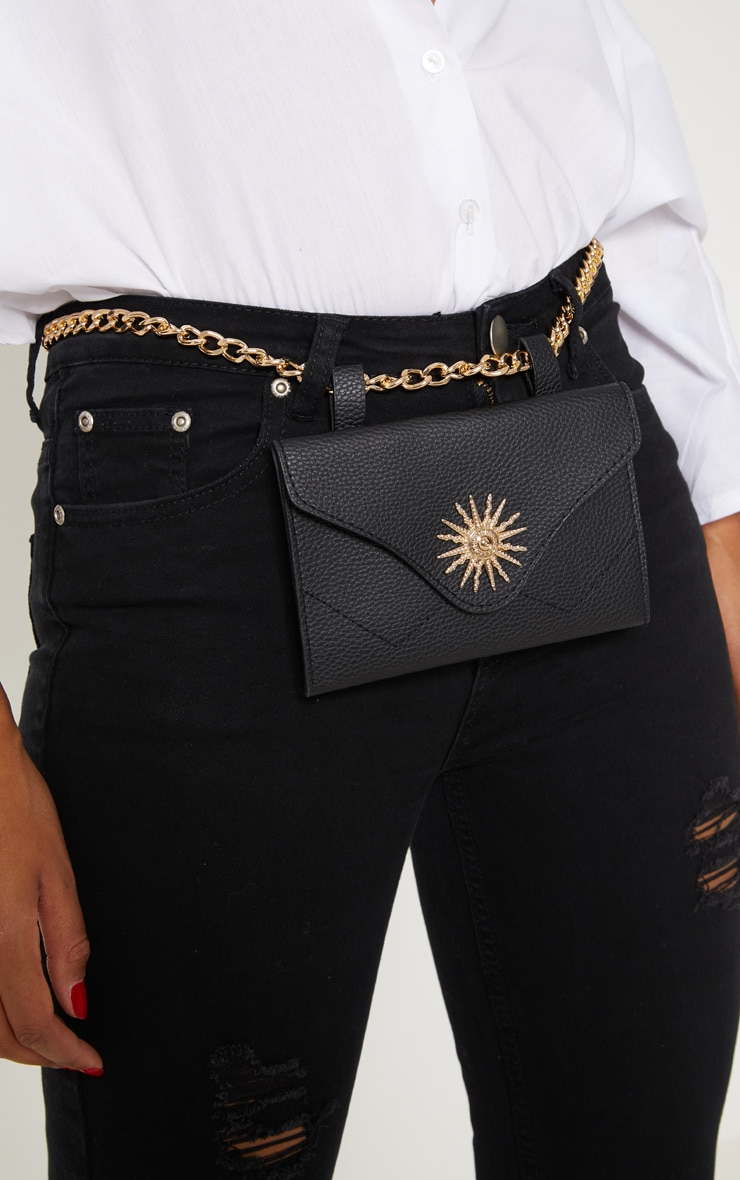Black Sundial Chain Belted Bum Bag 3