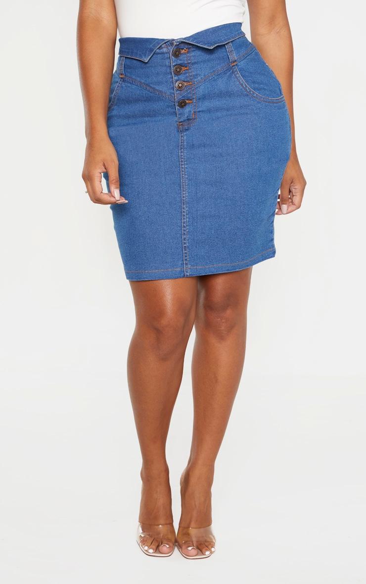 Shape Mid Wash Button Up Denim Skirt 2