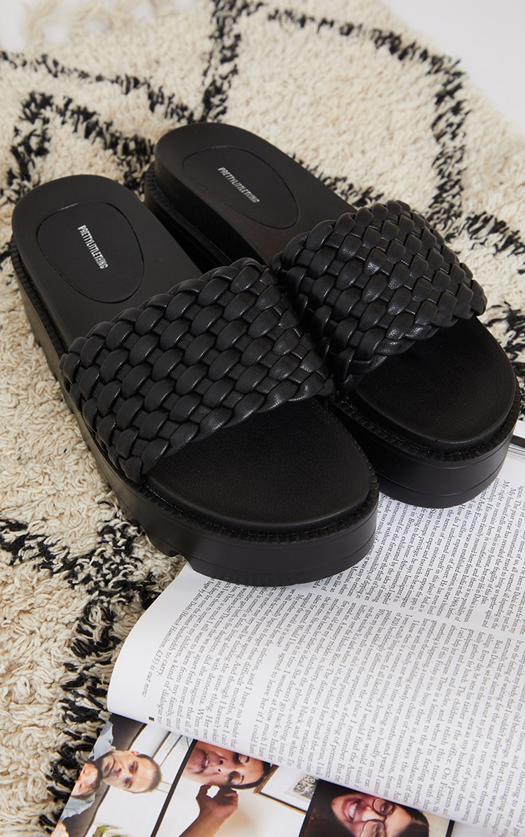 Black Cleated Flatform Woven Strap Sliders 3