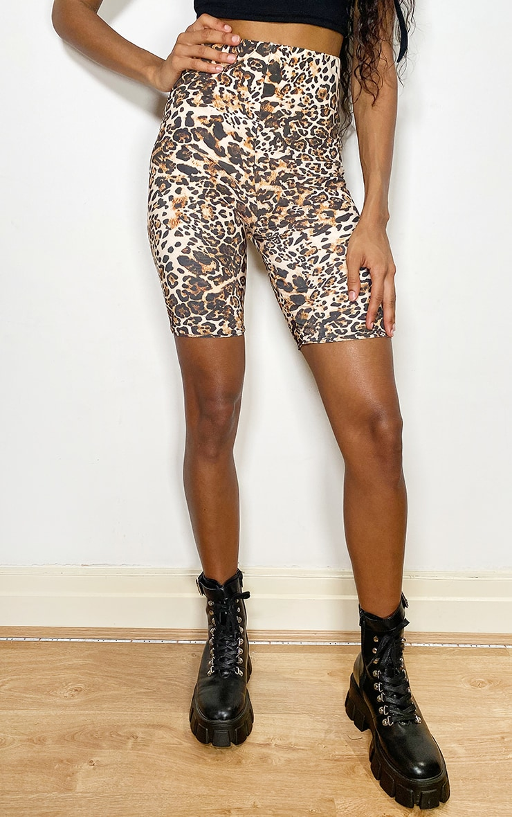 Brown Leopard Slinky Cycle Shorts 3