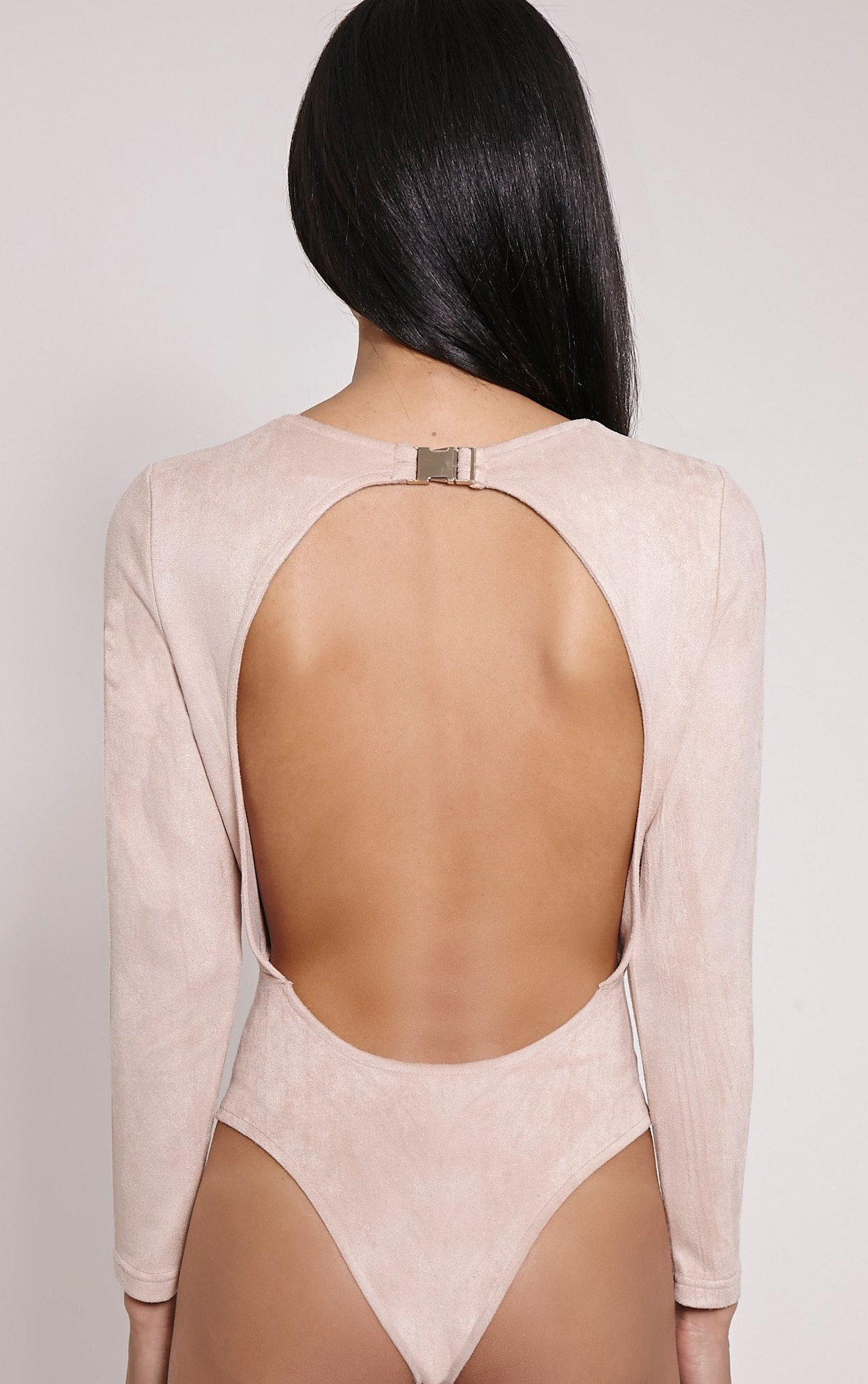 Rayna Beige Faux Suede Backless Buckle Bodysuit 7