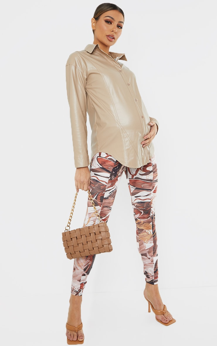 Maternity Chocolate Abstract Print Ruched Leggings 1
