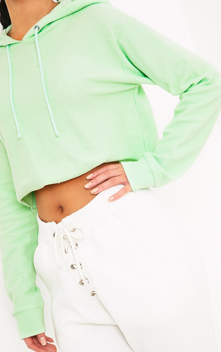 Charissa Pastel Green Inside Out Cropped Hoodie 5