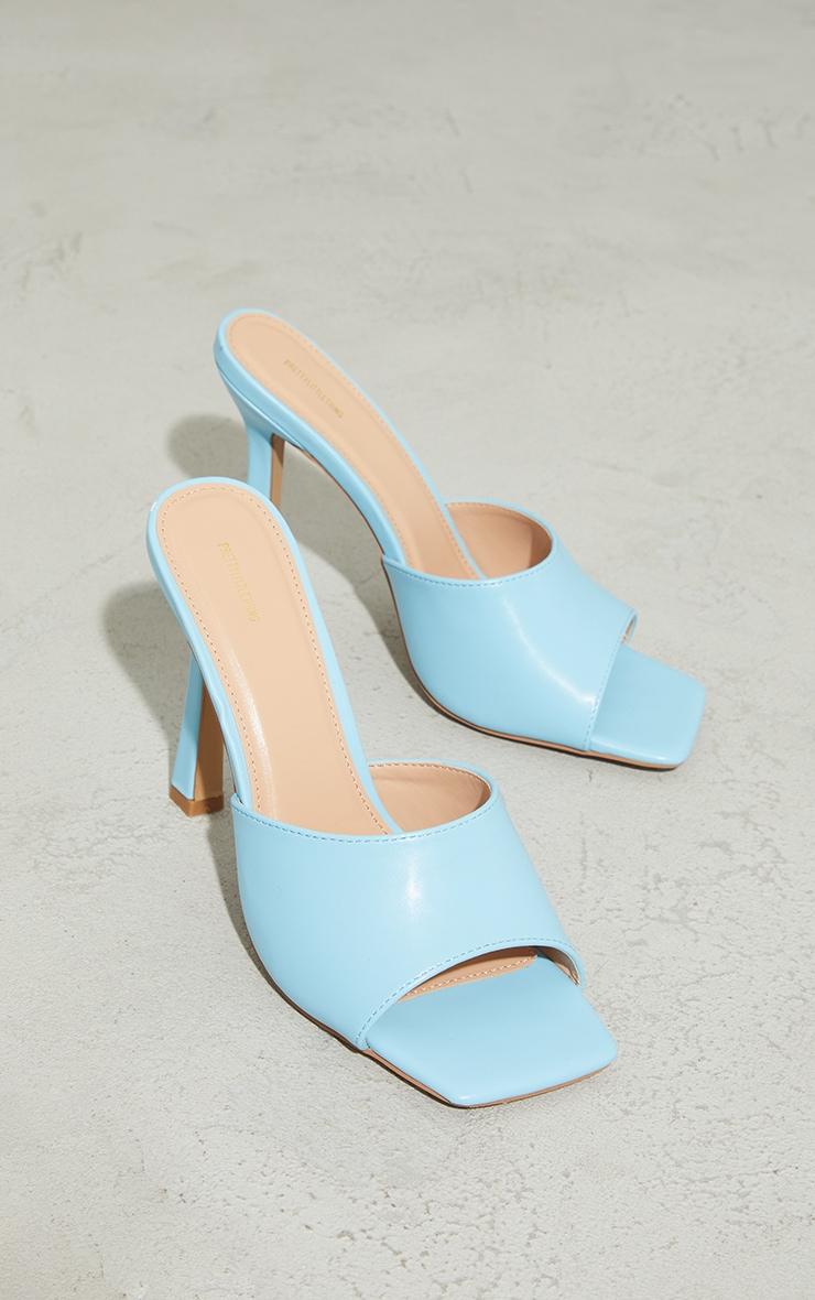Baby Blue Square Toe Mule High Heels 3