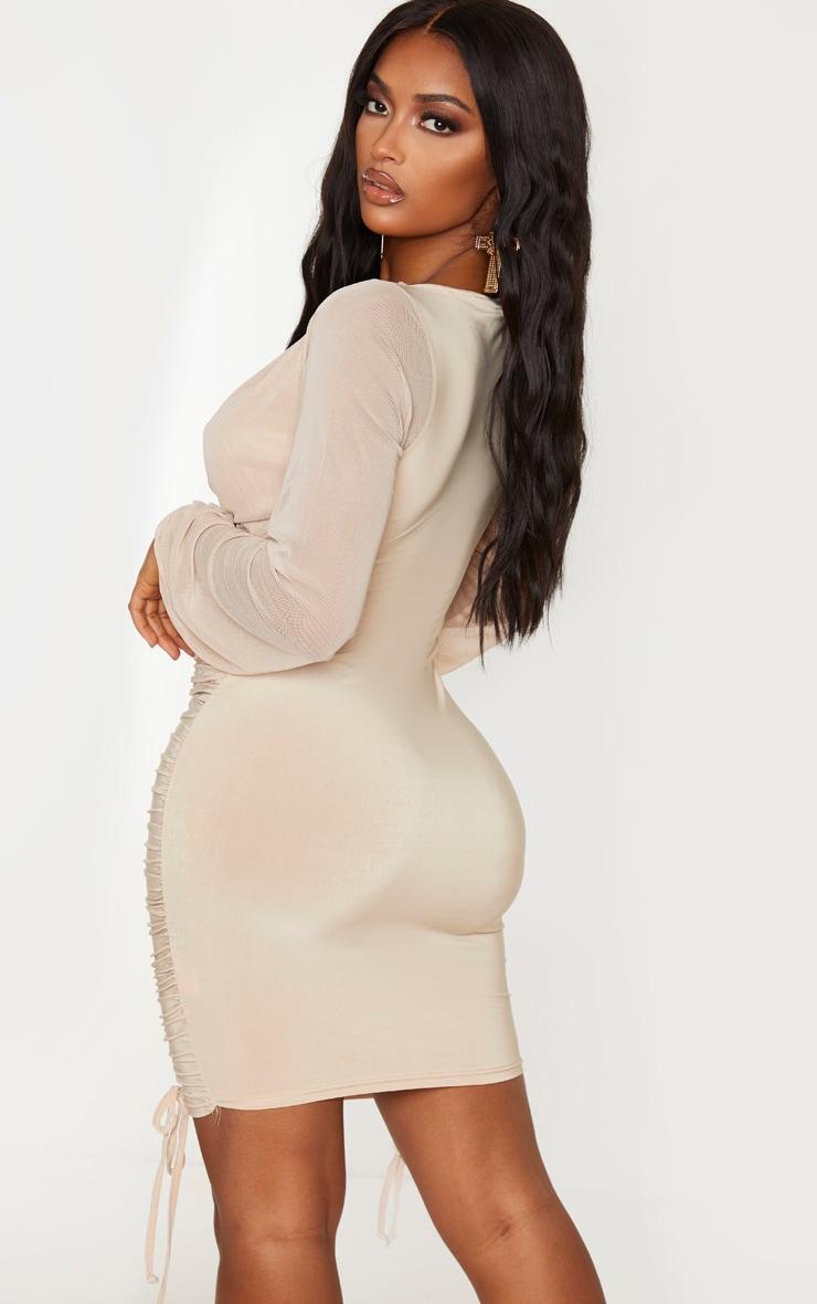 Shape Dark Nude Slinky Ruched Mesh Sleeve Bodycon Dress 2