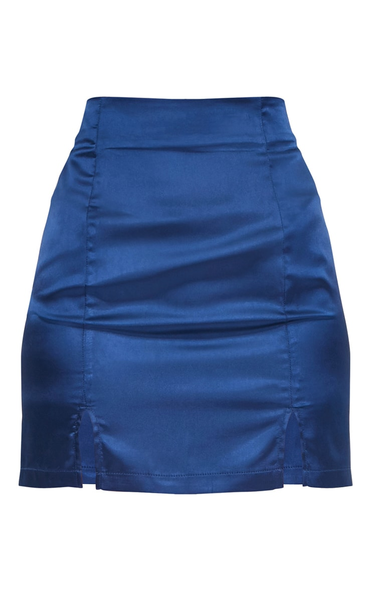 Navy Satin Double Split Mini Skirt 3
