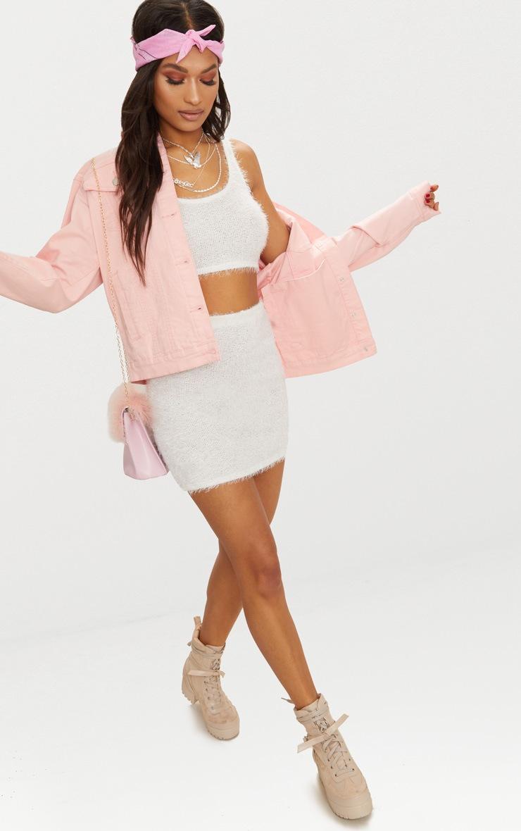 Cream Eyelash Fluffy Knit Mini Skirt 5