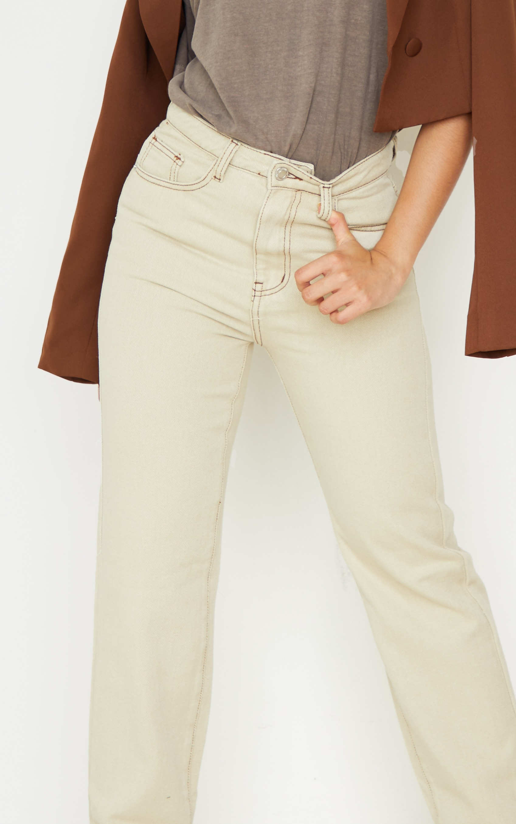 Petite Stone Contrast Stitch Long Leg Straight Jeans 4