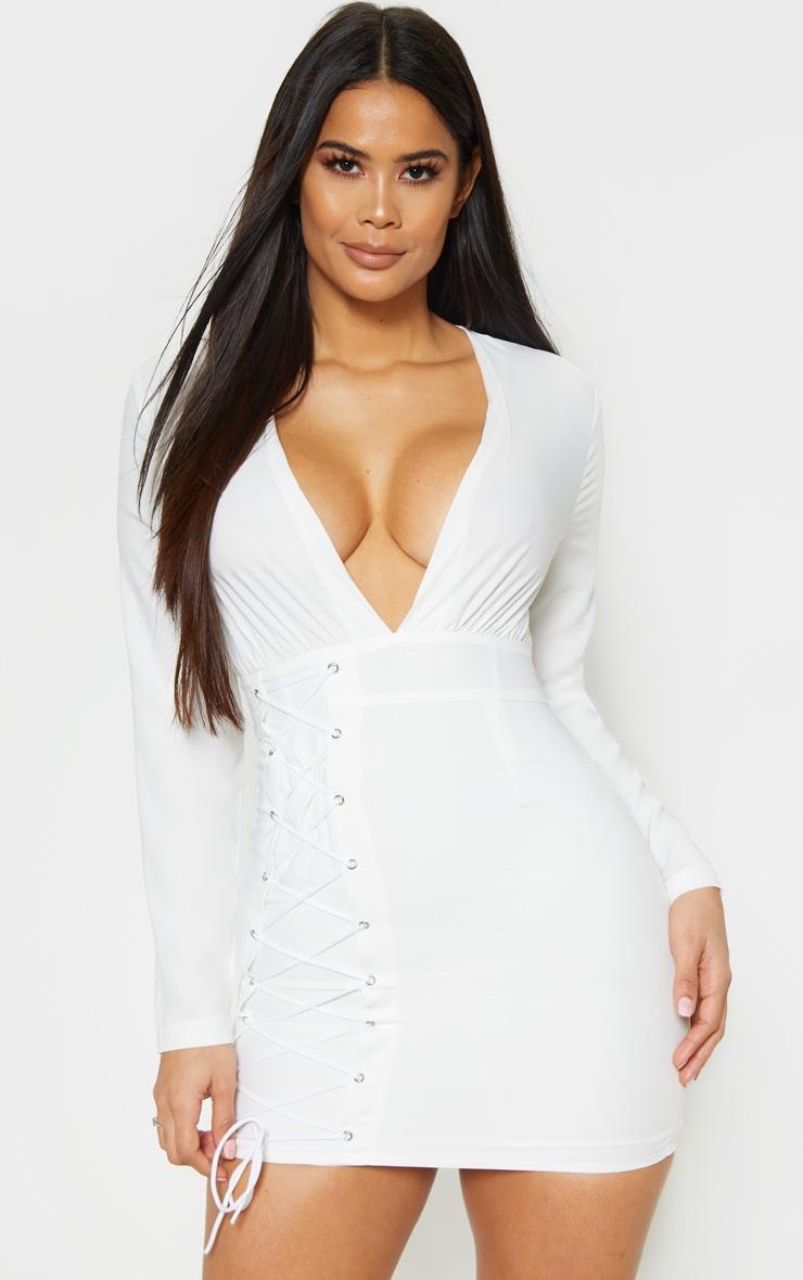 White Long Sleeve Plunge Eyelet Lace Up Bodycon Dress 4