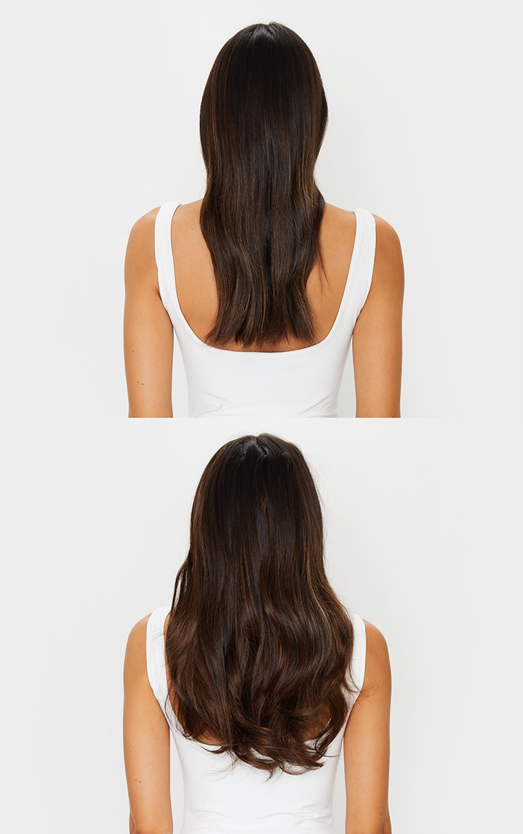 Lullabellz Super Thick 16 5 Piece Blow Dry Wavy Clip In Hair Extensions Warm Brunette 3