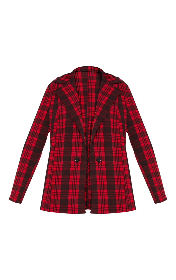 Red Tartan Checked Blazer  3