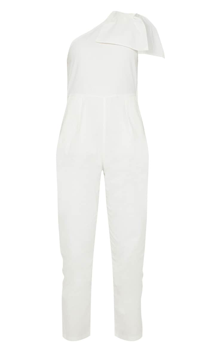 White One Shoulder Woven Sleeveless Jumpsuit 3